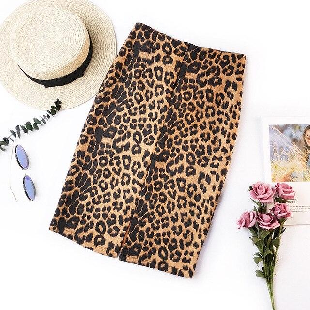 2019 été rétro imprimé léopard bureau jupe taille haute slim version coréenne de la nouvelle élastique dames décontracté sexy sac hanche jupe
