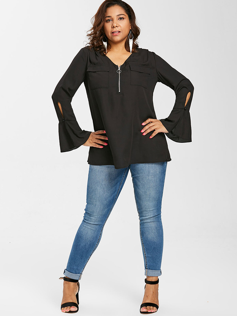 PlusMiss Plus Size Bell Flare Sleeve Front Zipper Tunic Tops 5XL XXXXL Women Big Size Black Chiffon Blouse Female 2018 XXXL XXL  3