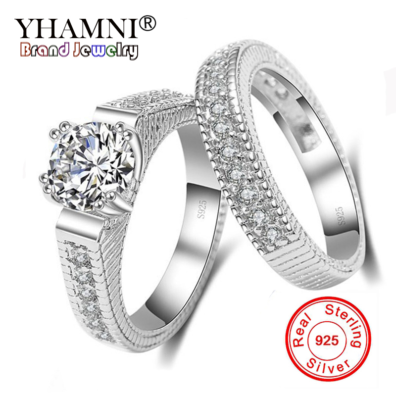 YHAMNI Original 100% 925 Sterling Silver Ring Set White Clear AAAAA CZ Zircon Wedding Bridal Women Rings Size 6-11 KE121