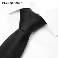 TIANQIONG Brand 2017 New Black Color Tie British Style Ties For Men Jacquard Neck Tie Formal