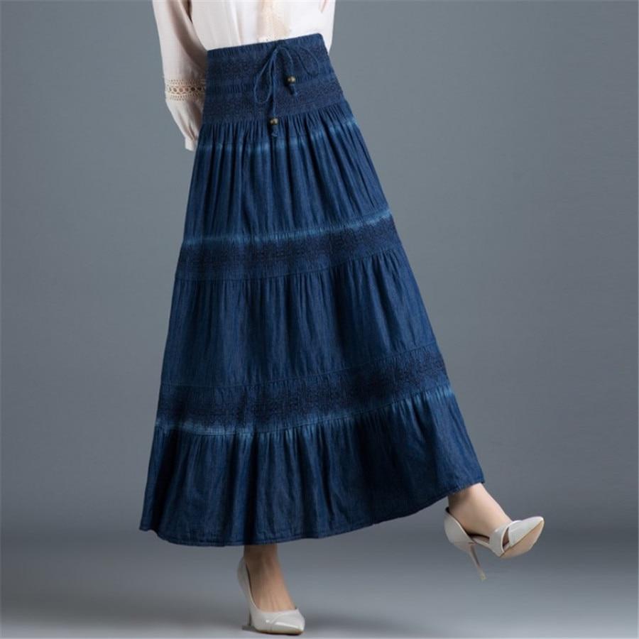 National Style Denim Skirt Vintage Long Skirt Summer Women Dark Blue Maxi Jean Skirt High Waist Pleated Casual  Skirt Ds50662