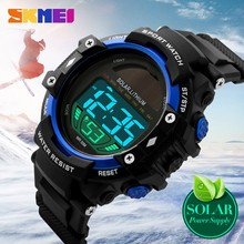 Sports Waterproof 50 Meter LED quartz SKMEI watch men s leather strap Fashion Watch Solar buckle