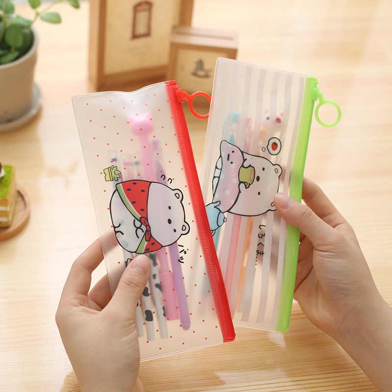 Bonito urso pvc lápis caso plástico transparente caneta sacos kawaii lápis casos para meninos coreano artigos de papelaria material escolar de escritório