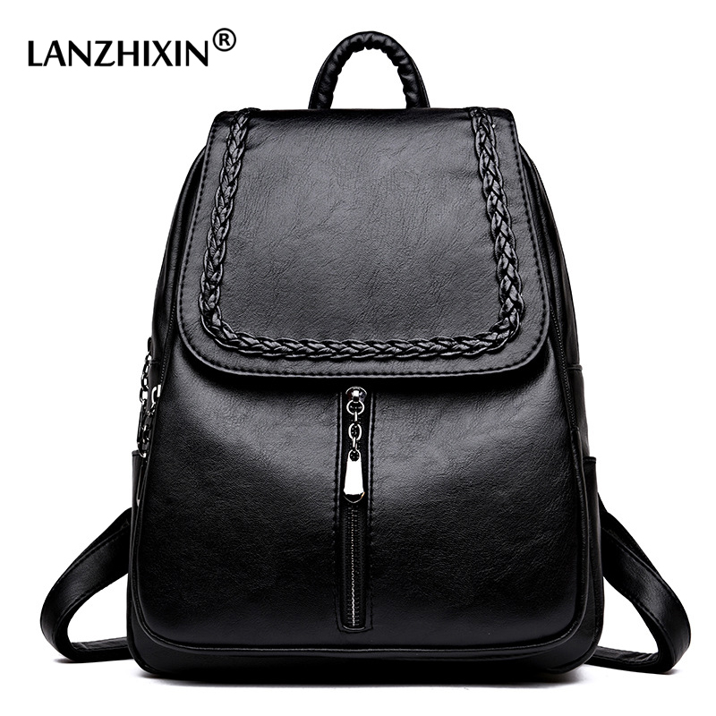 Lanzhixin Women Leather Backpacks Bag Simple Fashion Preppy Style Bags Backpacks Students School Travel Bags For Girls 1100 ciker new preppy style 4pcs set women printing canvas backpacks high quality school bags mochila rucksack fashion travel bags