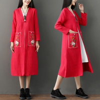 Autumn Winter Embroidered Long Wind Coat National Style Cotton Casaco Feminino Casual Trench Coat For Women Outwear