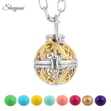 10PCS!! Fashion Gold Color Hollow Cage Locket Pendant for Women Pregnany Mexico Harmony Balls Necklace Jewelry