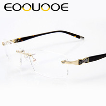 4c31d3f414 EOOUOOE Rimless Glasses Frame Metal Eye Glasses Gold Gary Silver Optical  Oculos Glasses Gafas Opticas Lens