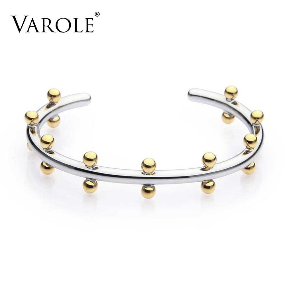 VAROLE Noeud Armband Gold Color Bracelet Manchette Bangles Metal Beads Cuff Bracelets & Bangle For Women Jewelry Pulseiras
