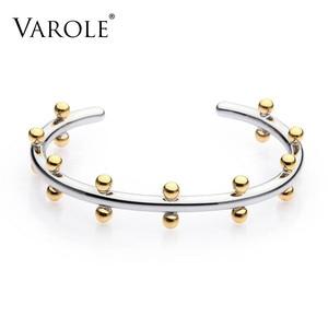 Image 1 - VAROLE Noeud Armband Gold Color Bracelet Manchette Bangles Metal Beads Cuff Bracelets & Bangle For Women Jewelry Pulseiras