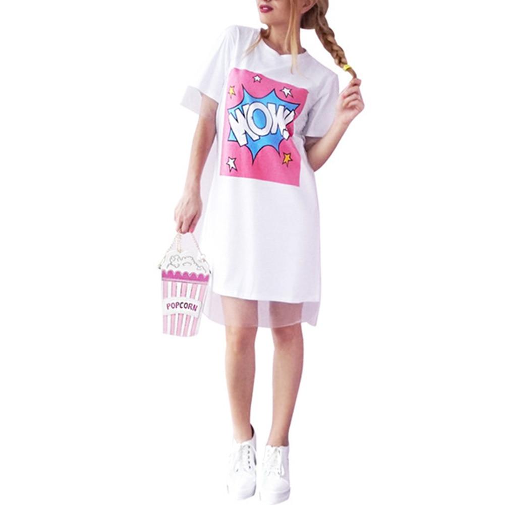 WOW Camiseta Vestidos de Encaje de Organza Vestido de Verano Recta Mujeres Lette