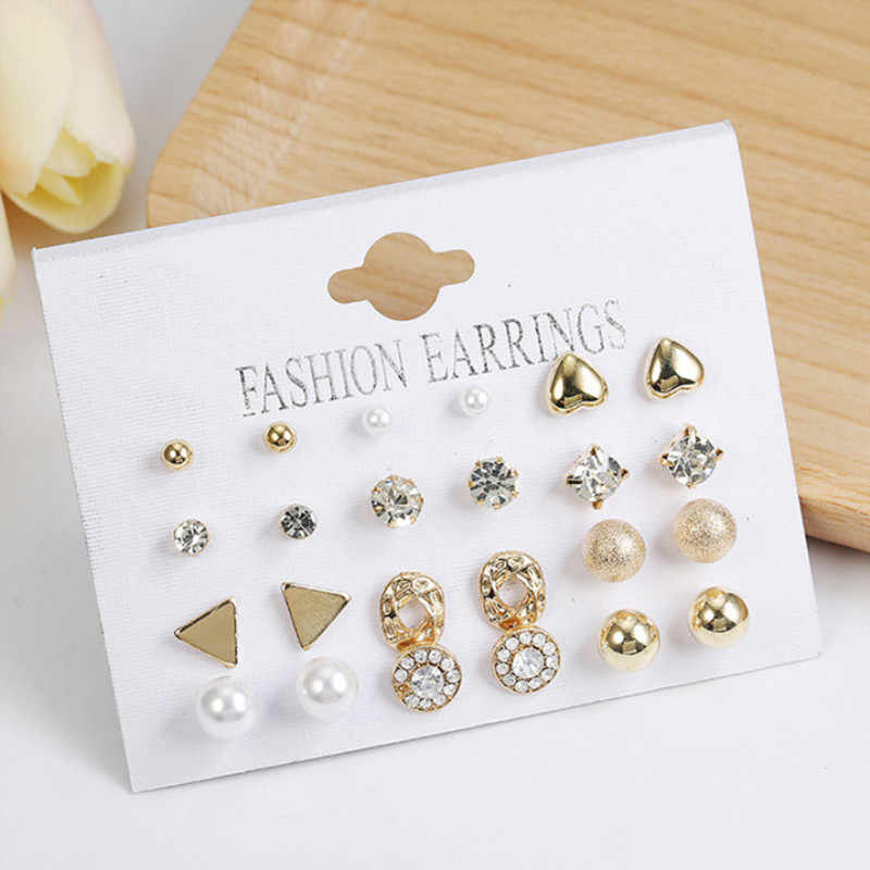 Vintage gold twisted Stud earrings for women 2019 new geometric 24pcs/set Metal Piercing Simulated Pearl Flower Earrings jewelry