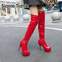Sianie Tianie 2019 new platform extreme thin high heels boots patent pu leather white red black women over the knee high boots