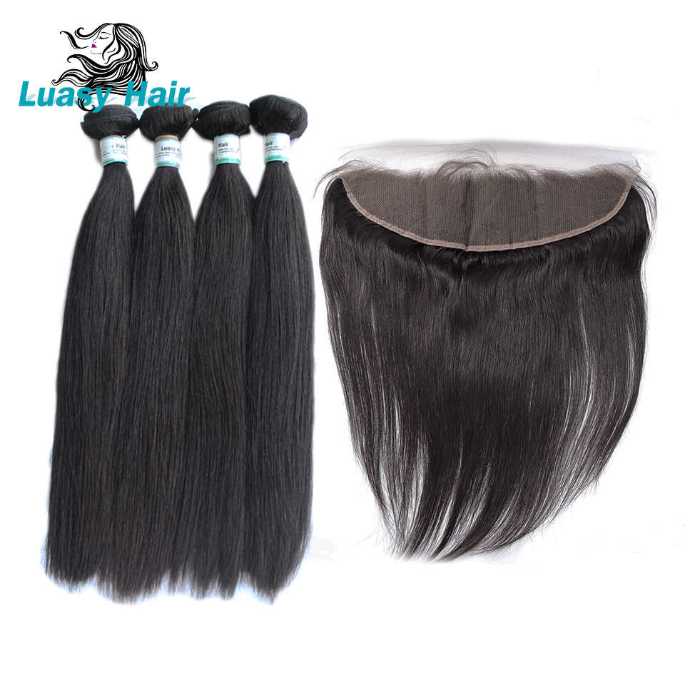 Luasy Peruvian Straight Human Hair Bundles With Closure 100% Remy Hair Weaves 4 Bundles With Lace Frontal 13X4 Ear To Ear