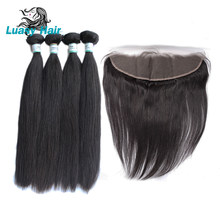 Luasy Peruvian Straight Human Hair Bundles With Closure 100% Remy Hair Weaves 4 Bundles With Lace Frontal 13X4 Ear To Ear(China)