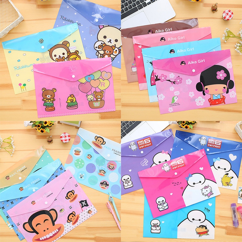 3pcs/lot Cartoon A4 File PVC Bag File Folder Documents File Bag Stationery Filling BAG School Office Storage File Pouch Holder