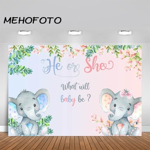 Image 1 - MEHOFOTO Elephant Baby Shower Photo Background Boy or Girl Gender Reveal Party Animals Decorations Photography Backdrops