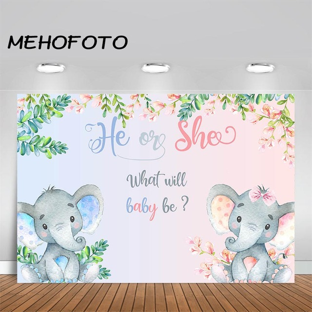 MEHOFOTO Elephant Baby Shower Photo Background Boy or Girl Gender Reveal Party Animals Decorations Photography Backdrops