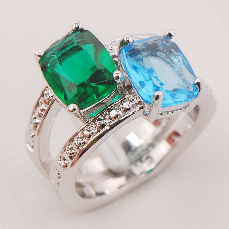 Simulated Aquamarine Simulated Emerald Women 925 Sterling Silver Ring F787 Size 6 7 8 9 10