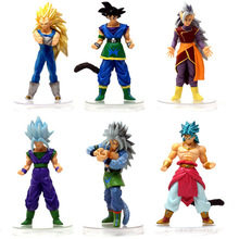 6pcs/lot 12CM Dragon Ball Z Figurines Son Goku Gogeta Super Saiyan Collection Toy 3D model anime figure action