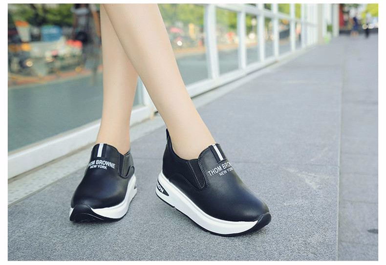 Shoes Women High Top Autumn Quality Leather Wedges Casual Shoes Height Increasing Slip On Ladies Shoes Trainers Size 35-39 YD139 (21)
