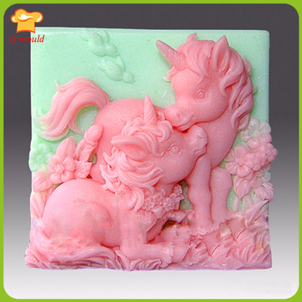 Animal soap mold 2D silicone Soap polymer clay mold Altair and Cintara Unicorn Ponie