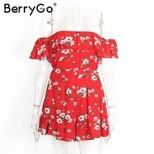 BerryGo Off shoulder ruffles print jumpsuit romper women High waist chiffon sexy leotard Summer beach overalls boho playsuit