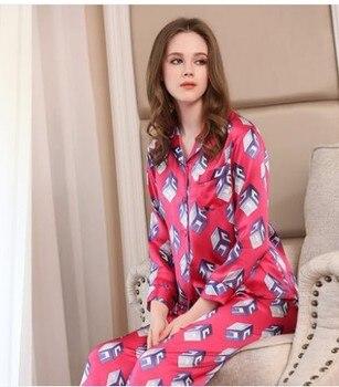 Meitamemann new silk pyjamas female autumn two-piece suit with 100% mulberry silk pajamas