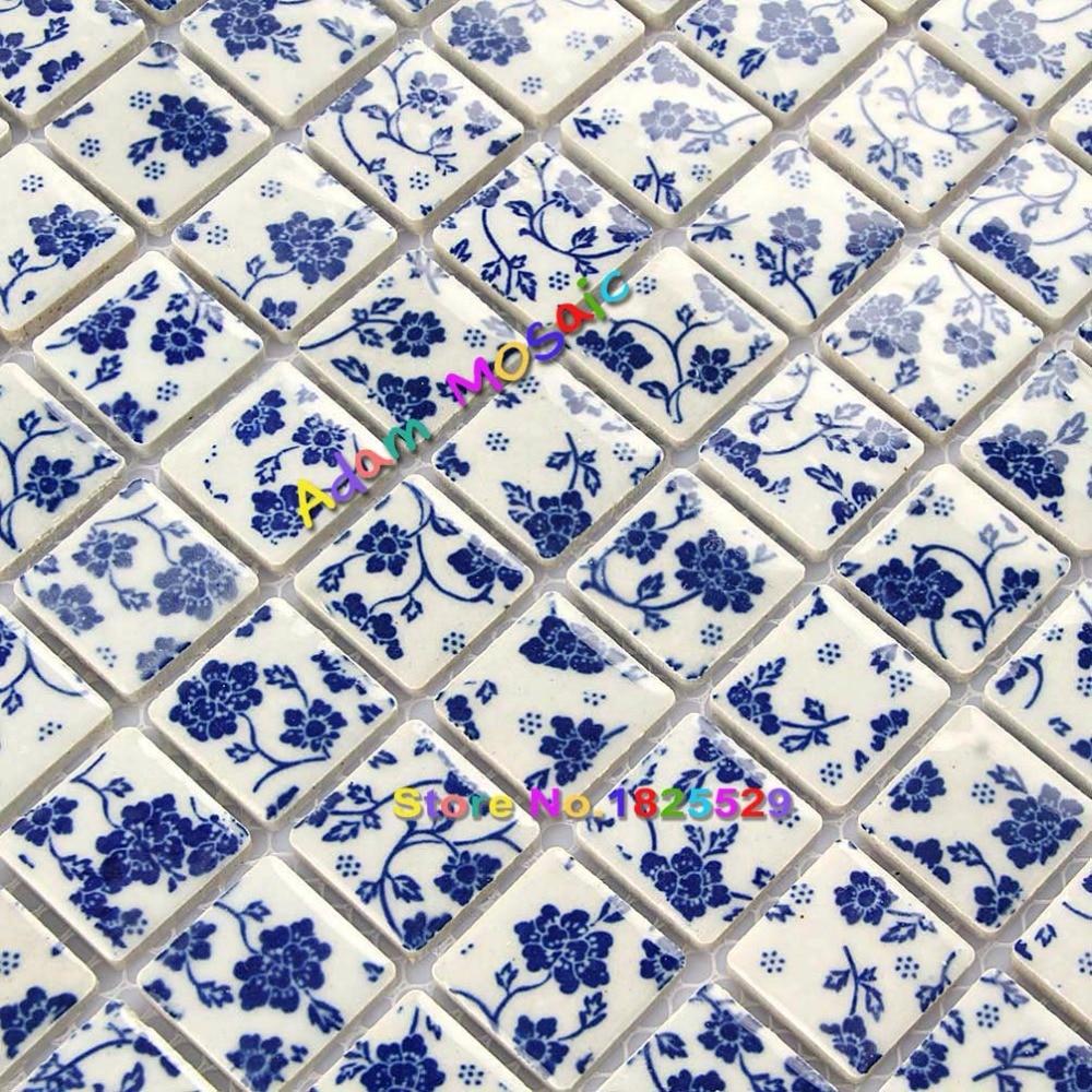 Square Tile Shower Wall Decorative Bathroom Tiles Blue