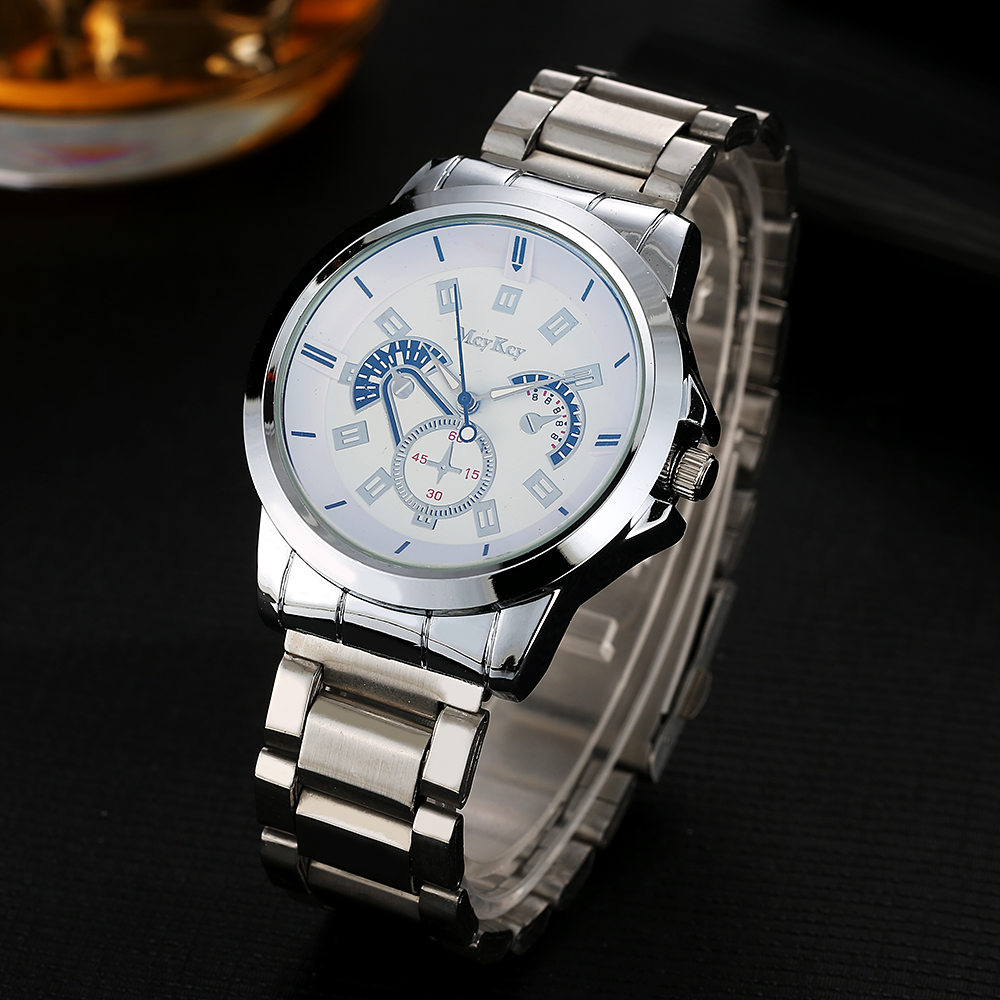 Men Watches Top Brand Luxury McyKcy Silver Stainless Steel Watch Fashion Sport Watch Simple Quartz WristWatch Relogio Clock mcykcy fashion top luxury brand watches men quartz watch stainless steel strap ultra thin clock relogio masculino 2017 drop 20