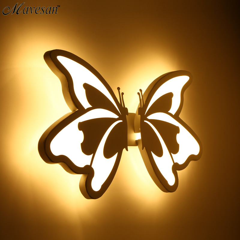 Contemporary  LED Wall Light with butterfly lampshade For Bathroom Bedroom 24W Wall Sconce White Indoor Lighting lamp arylic купить