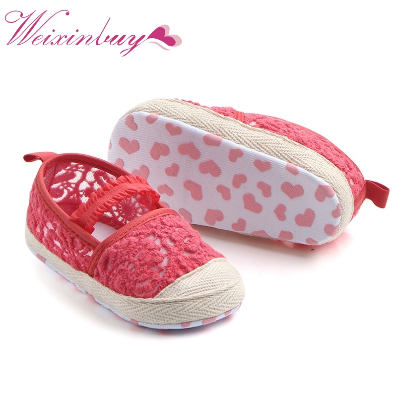 2017 Spring Summer Baby Girls Shoes First Walkers Crib Bebe Kids Infant Toddler Newborn Hollow Loafers