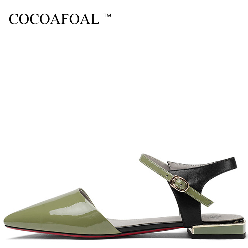COCOAFOAL Women Green Genuine Leather Sandals Big Size 33 43 Sexy Party Prom Shoes Buckle Strap Pointed Toe White Wedding Sandal cocoafoal woamn patent leather sandals fashion heel height black white wedding shoes sexy genuine leather pointed toe sandals