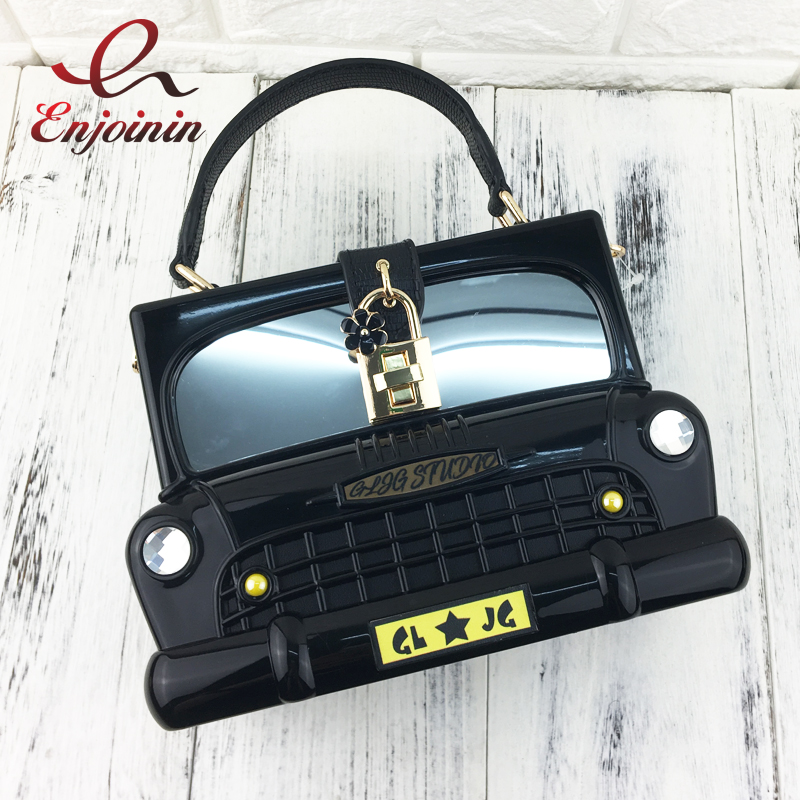 New design fashion car shape acrylic box shape black ladies totes shoulder bag handbag purse women