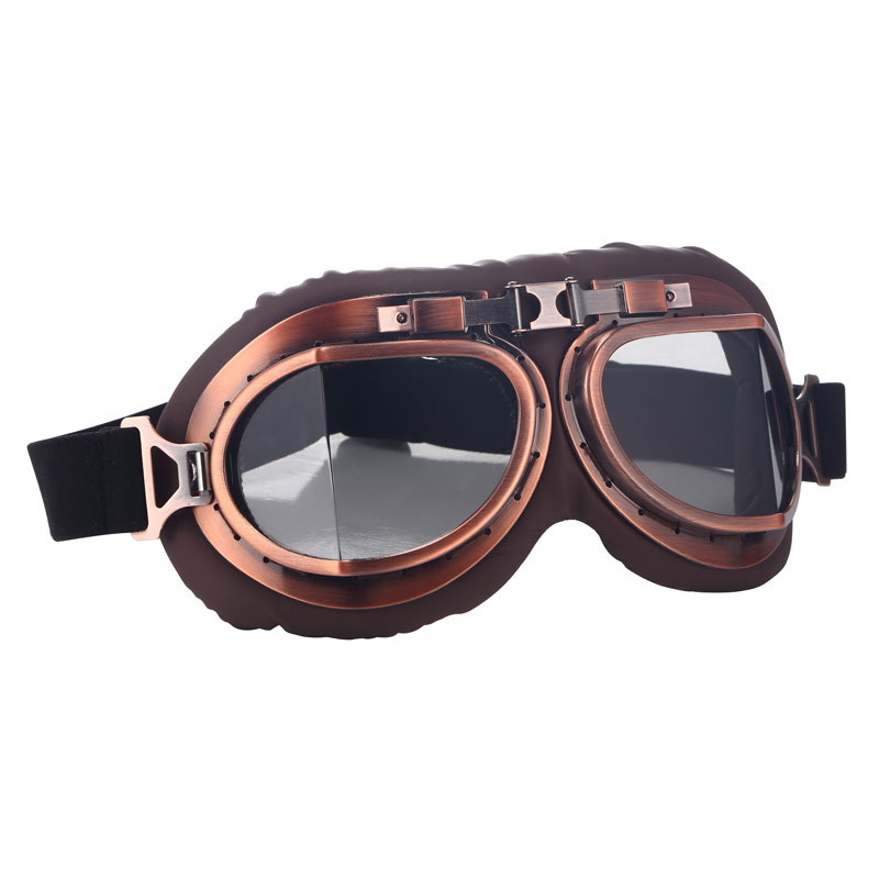 Arcade Retro Motorcycle Goggles Glasses Vintage Motocross Classic Goggles for Harley Pilot Steampunk ATV Bike Copper Helmet