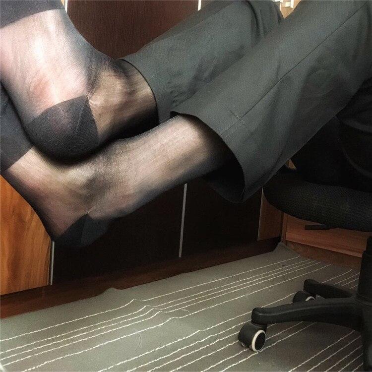 Black Navy Male Suit Dress Sexy Silk Socks Sheer Mens Formal Socks Transparent Men Socks