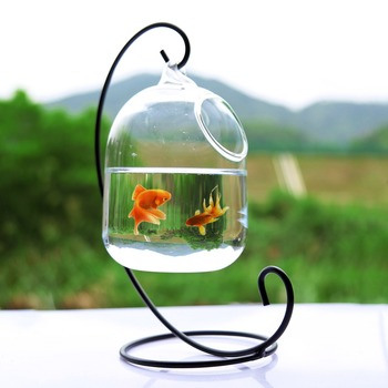 Clear 15cm Height Hanging Glass Aquarium Fish Bowl
