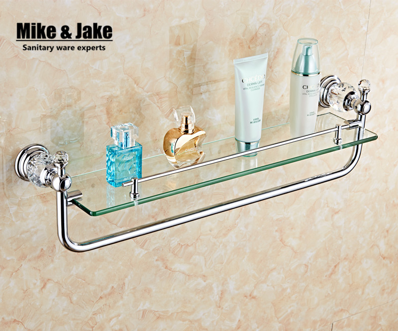 Bathroom accessories chrome finish with crystal single - Bathroom accessories glass shelf ...