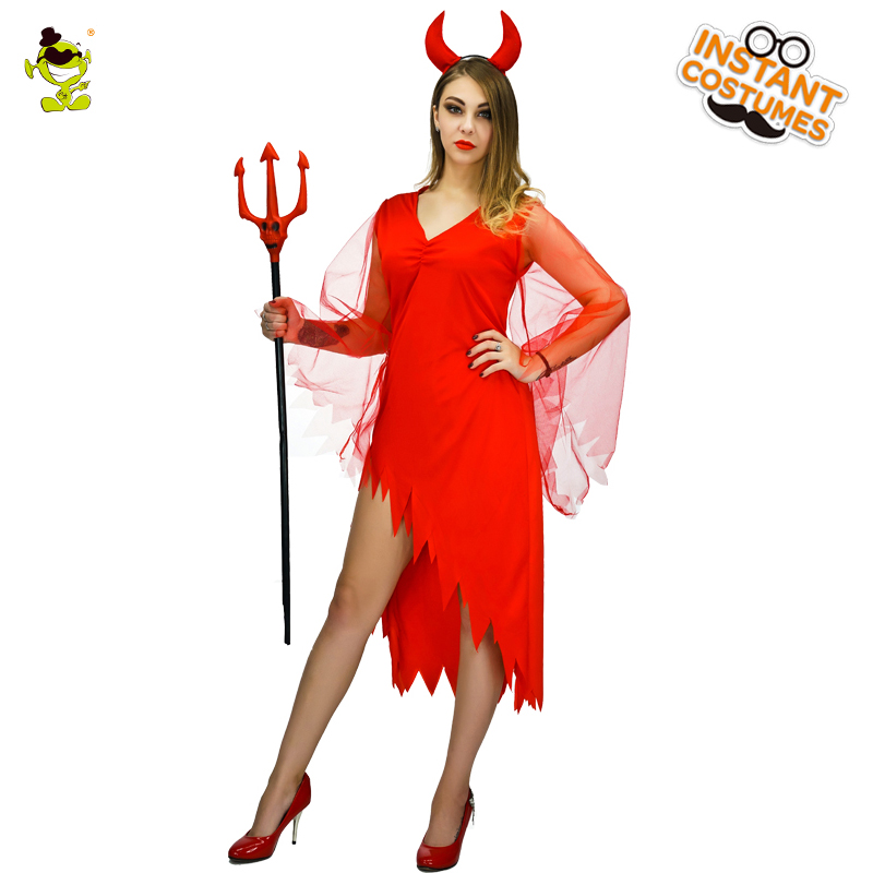 Adult's Devil Costume For Women's  Sexy Red Evil Queen Vampire Costume Halloween Party Cosplay Fancy Dress Costumes