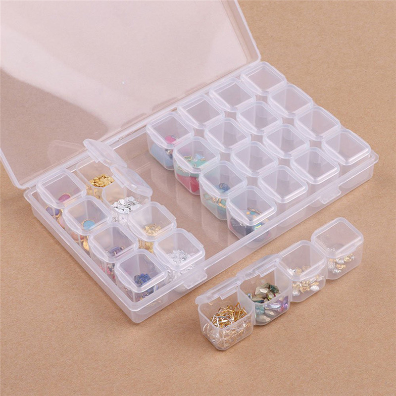 2 Pack 28 Grids plastic storage box Jewlery Adjustable Storage Boxes Of Diamond Painting Accessories for DIY Craft 2O0405