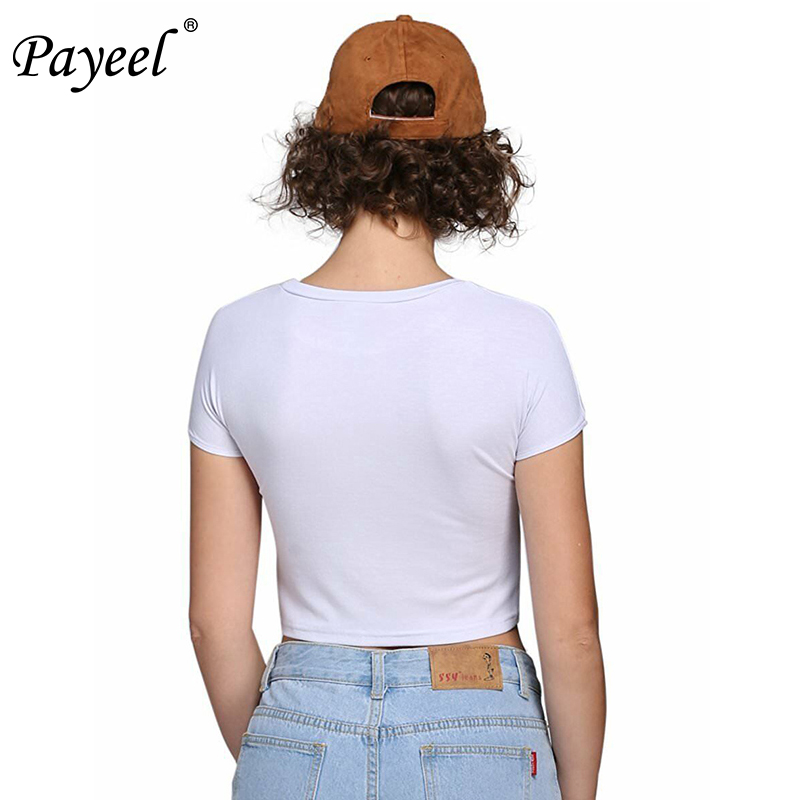 Women Casual Tshirt Solid Crop Tops Round Neck Vogue T Shirt Summer Basic Tee Femme 2019 Short Sleeve Woman Streetwear Tshirts in T Shirts from Women 39 s Clothing