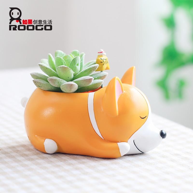 Roogo Flower Pot Mini Succulent Pot Pet dog Annimal Plant Pot Garden Cute Cactus Pots Home Living Room Balcony Decorations in Flower Pots Planters from Home Garden