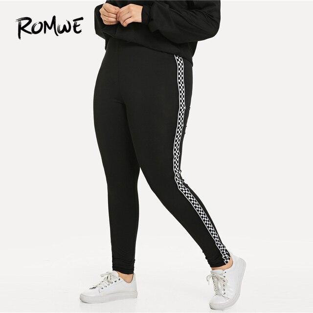 Romwe Sport плюс размер черные клетчатые контрастные клетчатые обтягивающие леггинсы штаны для фитнеса или йоги Тренажерный зал женские 2019 спор... 1