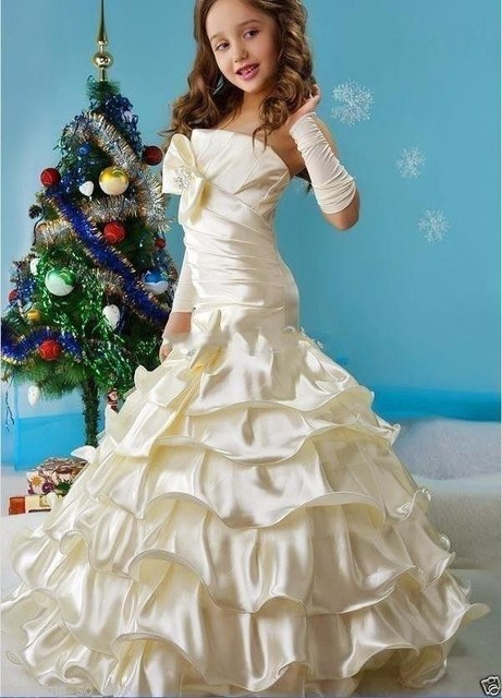 ee2f6bf1734 Hermosos vestidos de fiesta de princesa para niñas vestidos de fiesta de  satén de sirena sin