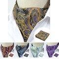 Cavalheiro Floral Paisley Lenço Quadrado Bolso Gravata de Seda dos homens Vestido Cravat Bow Tie Tecido Jacquard Casuais Partido Set Lenço