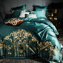 Green Blue Purple Luxury 100S Egyptian Cotton Gold Royal Embroidery Palace Bedding Set Duvet Cover Bed sheet/Linen Pillowcases