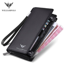 WilliamPOLO 2019 New Mens Wallet Zipper Hasp Design Long Genuine Leather Business Phone For Credit Cards Clutch  Men Gift