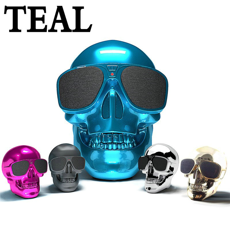 TEAL Skull Bluetooth Speaker Halloween Wireless Hallows Skull Head Portable speaker 8W Audio boleh dicas semula Bateri Pemain Muzik