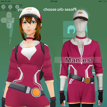Pokemon GO Pokemon Pocket Monster Trainer Female Red Cosplay Costume with Hat Adult Women Halloween Cosplay Costume Game Cos
