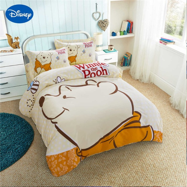 Disney Winnie The Pooh Printing Bedding Sets Kids Bedroom Decor Satin Cotton Bedspread Single Twin Queen