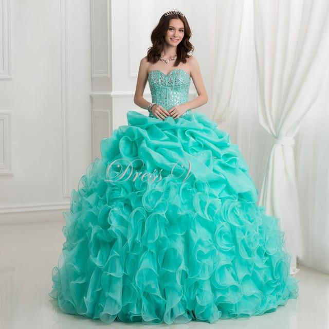 41af245276 Mint Green Organza Ball Gown Quinceanera Dresses Princess Sweet 15 Dress  Sweetheart Ruffles Floor Length Masquerade Prom Gowns